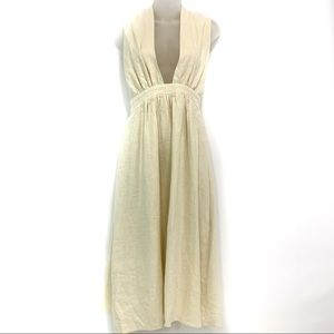 Style Keepers cream linen plunging A Line dress